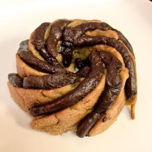 @beerandbaking banana and chocolate bundt